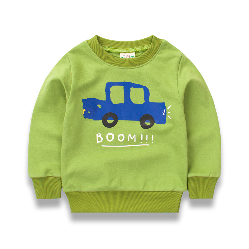 Children's Clothing 1-10 Years Baby Boy Girl Pullover Autumn Spring Long Sleeved T-shirt Cotton Terry Sweatshirts Cartoon Car
