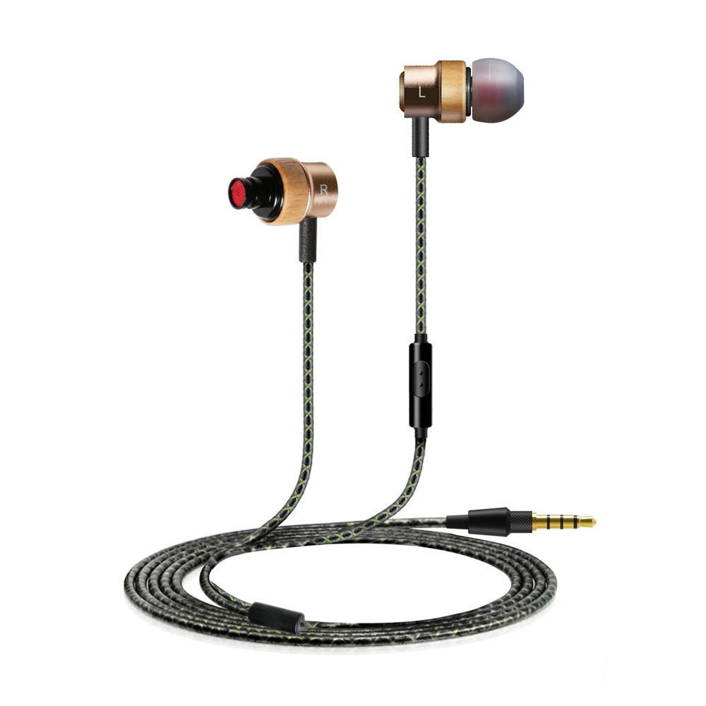 H800 Earphone 3.5mm In-Ear Earpiece for iPhone 6 Xiaomi with MIC Handsfree Wire Control Headsets for Samsung Beech Wood - Golden