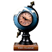 Fashion Creative Vintage Globe Model Desk Clock Ornaments Resin Crafts Retro Earth Model Home Living Room Clock Decoration Gifts(China)