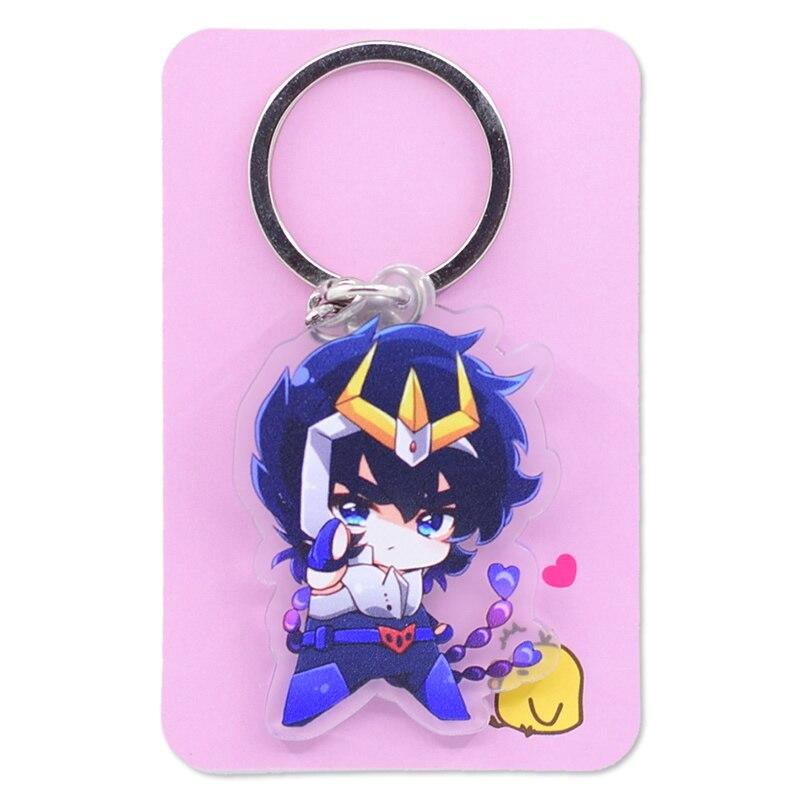 Image 4 - Saint Seiya Keychain Double Sided Cartoon Keyrings Cute Anime Acrylic Pendant Accessories PCB248 253Key Chains   -