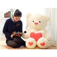 100 cm/110 cm Dolması Peluş Oyuncak Holding AŞK Kalp Sevgililer Günü Için Big Peluş Ayıcık Yumuşak Hediye doğum günü Kız Brinquedos