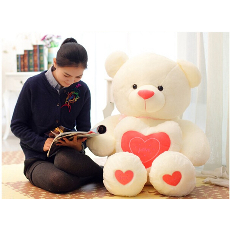 100cm/110cm Stuffed Plush Toy Holding LOVE Heart Big Plush Teddy Bear Soft Gift For Valentine Day Birthday Girls' Brinquedos 8x10ft valentine s day photography pink love heart shape adult portrait backdrop d 7324