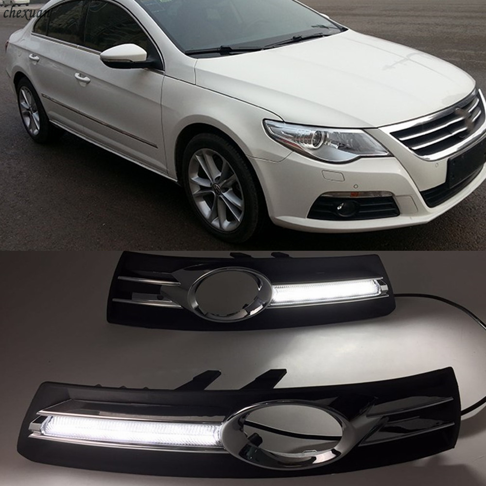 CSCSNL 2PCS LED DRL Daytime Running Lights with Turnnig Yellow signal Lights  For VW Volkswagen Passat CC 2009  2011 2012 2013-in Car Light Assembly from Automobiles & Motorcycles    1