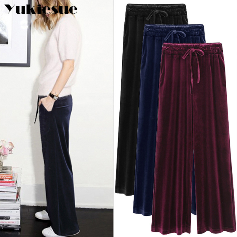 Velvet Palazzo   Wide     Leg     Pants   Women High Waist elastic drawstring Big Size Loose Trousers Famale Autumn Winter Clothing 5XL 6XL
