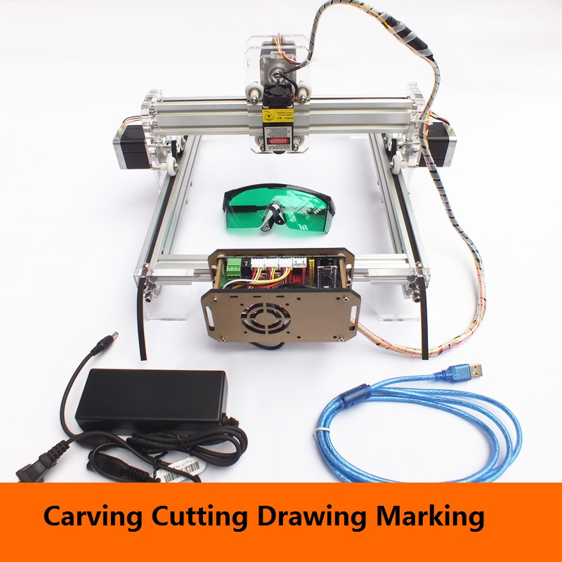 Desktop laser engraving machine marking machine cutting plotter DIY cutting machine mini miniature plotter new 15w 12v4a laser engraving machine small marking machine picture desktop cutting plotter laser cutting machine 140mm 200mm
