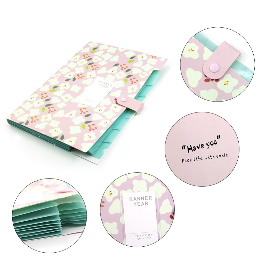 A4 Candy Floral waterproof 8 Pockets expanding Organizer Wallet Close Document Portfolio Folder 8 pockets for Home or Office