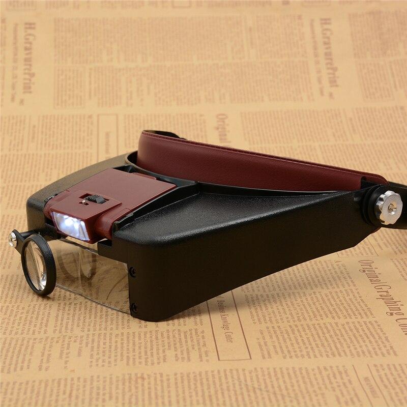 Lupa microscopio LED 1.7X 2X 2.5X 4.5X estilo casco lupa gafas de lectura o uso de reparación