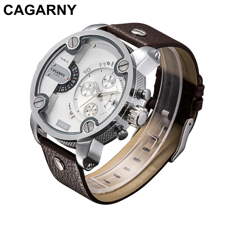 Cagarny Quartz-Watches Men Wrist Watch Dual Time Zones Military Wristwatches Man Clock Sport Relogios Masculino Wholesale 10pcs men watches cagarny rose gold case men s wristwatch business male clock quartz watch dual time zones military relogio masculino