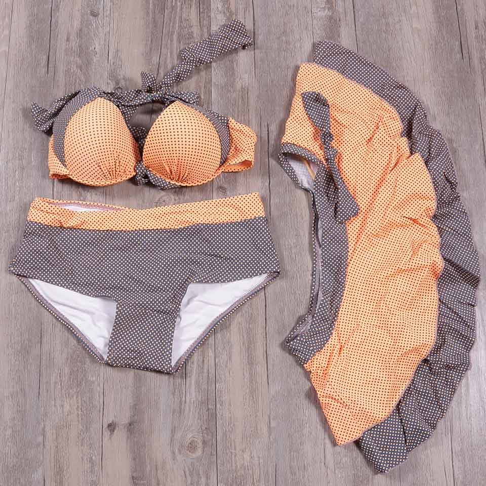 TCBSG 2019 Sexy Swimwear Women Retro Dress Swimsuit Female Halter Padded Bikinis Bikini Set Bathing Suits Beach Wear Biquini