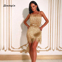 Seamyla Yeni Moda Akşam Parti Elbise Kadınlar Seksi Spagetti Kayışı Altın Püskül Göster Clubwear Mini Bodycon Elbiseler Üzerinde Vetidos