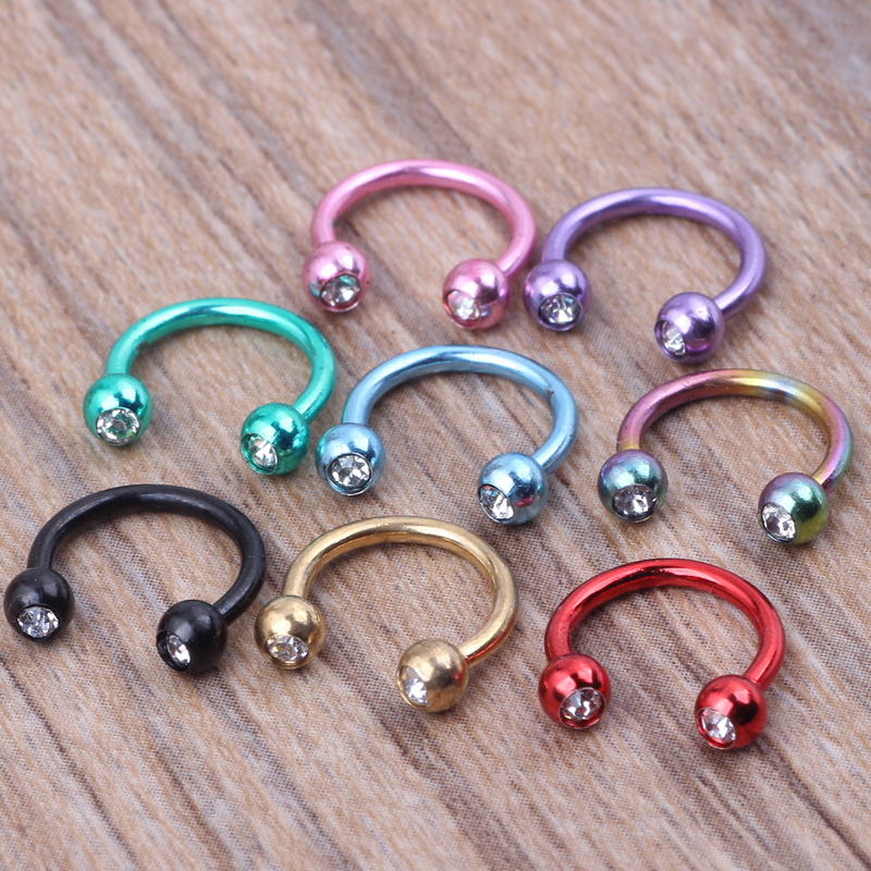 1pcs/lot Surgical Steel Double Gem Horseshoe Bar - Lip Nose Septum Ear Ring Various colors available Body Piercing Jewelry
