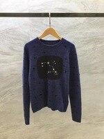 2018 Новое поступление осень и зима Для женщин свитера с круглым вырезом Платье с длинными рукавами, в горошек 100% кашемировый пуловер свитер Б