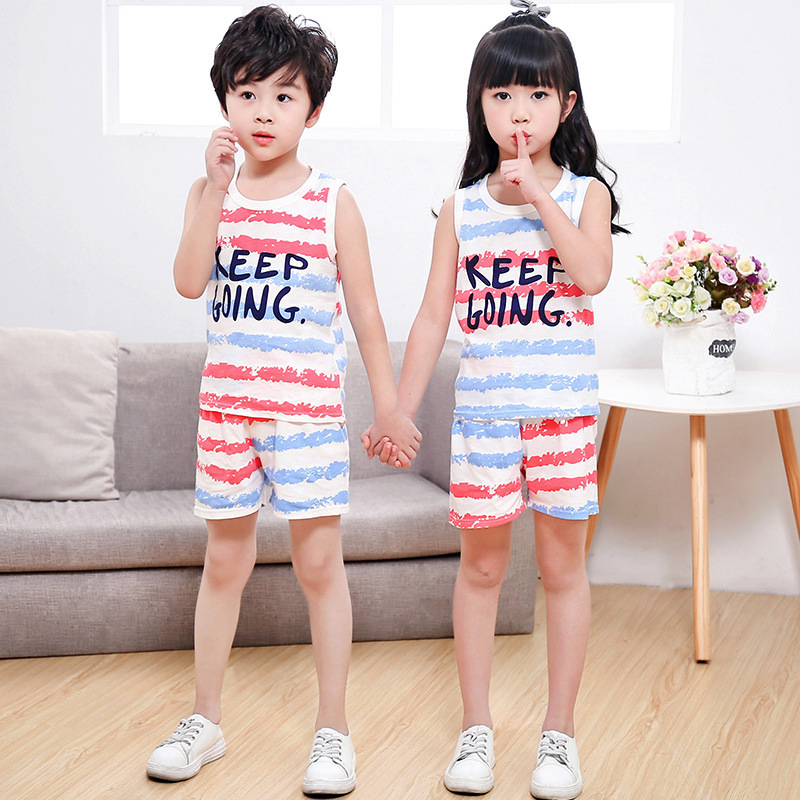 2018 Cartoon Summer Baby Boy Clothing Set Tank Vest Top + Shorts Kid Girl Summer Sleeveless Set Children Girl Clothes Set 2017 new pattern small children s garment baby twinset summer motion leisure time digital vest shorts basketball suit