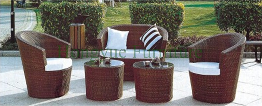 Iron frame pe rattan outdoor round sofa set furniture