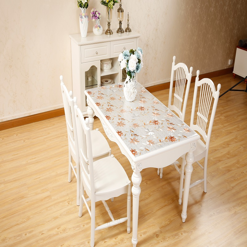PVC Soft Glass Table Pad Waterproof Pastoral Printing