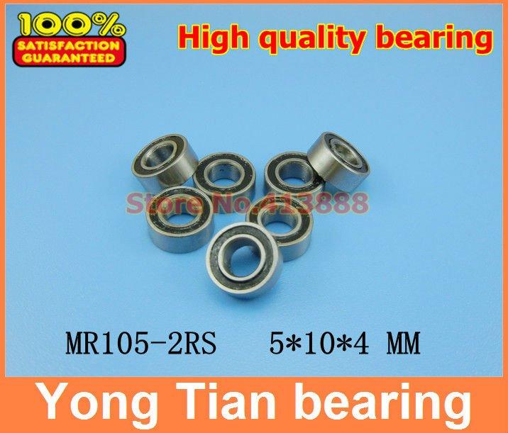 Free Shipping High quality 10PCS MR105-2RS ABEC-5 5*10*4 mm Miniature Ball Bearings MR105RS L1050 1pcs 71901 71901cd p4 7901 12x24x6 mochu thin walled miniature angular contact bearings speed spindle bearings cnc abec 7