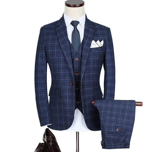 Brand Quality Suit Men 2017 Slim Fit Plaid Suits For Men