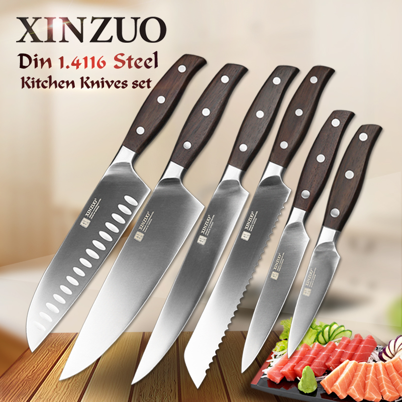 XINZUO Kitchen Tools 6 PCS Kitchen Knife Set Utility Cleaver Chef Bread Fruit Santoku Knives Stainless