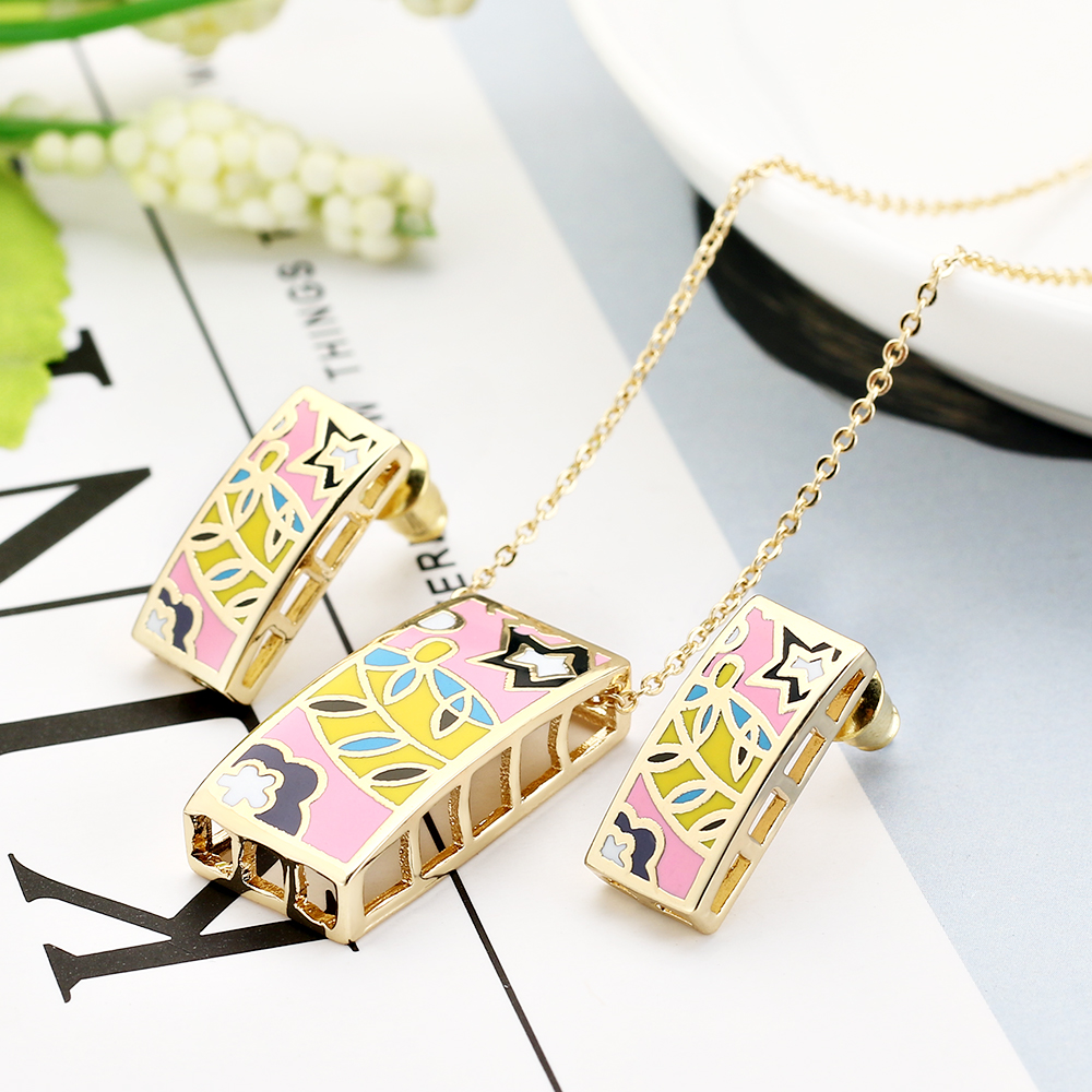 2017 New Fine costume Enamel Jewelry Sets for Women Colorful Chinese style Necklace Jewelry set Christmas bring blessing Gift