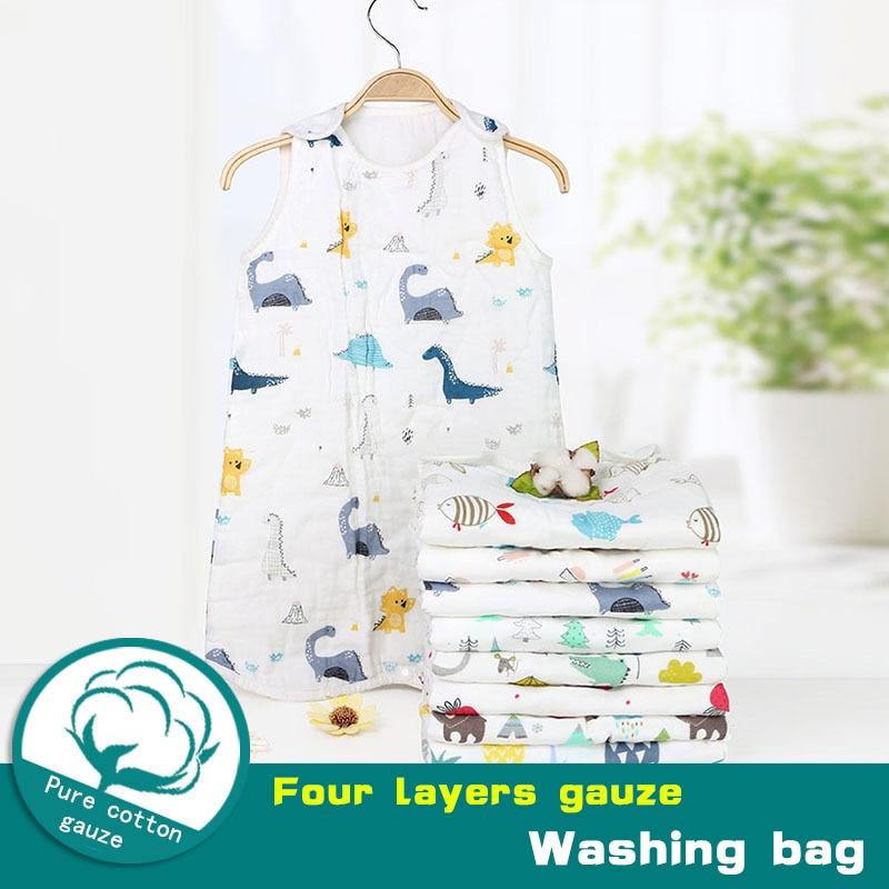 Saco de dormir do bebê seis camadas algodão lavado gaze musselina cobertor grosso macio colete tipo algodão gaze recém-nascidos sacos de dormir do bebê