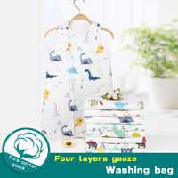 Bolsa de dormir de bebé de seis capas de algodón lavado muselina gasa manta gruesa de tipo camiseta de gasa de algodón de bebé recién nacido sacos para dormir