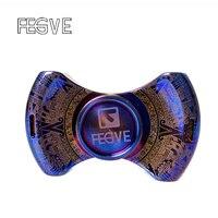 FEGVE MaYa Fidget Spinner Hand Spinner Metal Finger Torqbar Leopard Carving Roasted Blue Titanium Alloy EDC