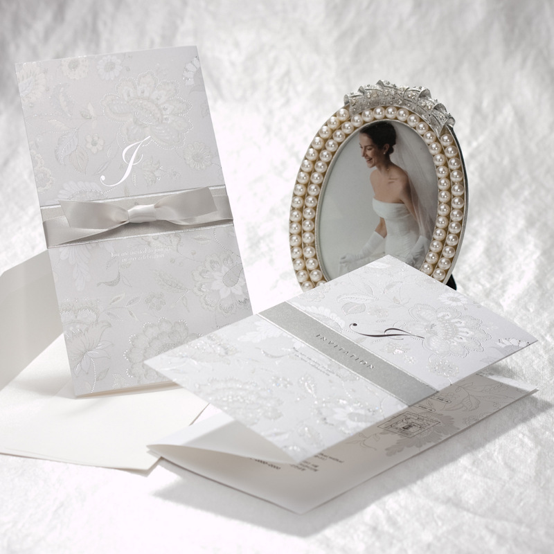 Silvery Wedding Invitation Cards with Silk Ribbon, Embossed Paper ...