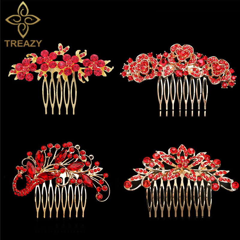 TREAZY Elegant Bridal Hair Combs Red Crystal Floral Animal Bride Wedding Hair Jewelry Party Prom Hair Accessories Women Headwear button
