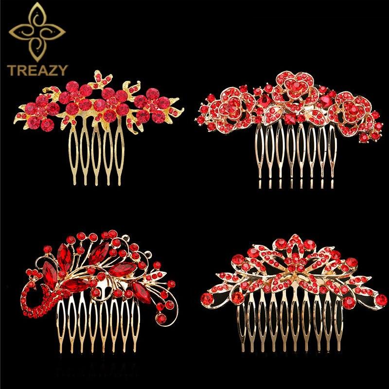 TREAZY Elegant Bridal Hair Combs Red Crystal Floral Animal Bride Wedding Hair Jewelry Party Prom Hair Accessories Women Headwear