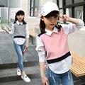 Chicas grandes camisas blusas para niñas niños clothing 2017 escuela de primavera uniformes de Marca Informal Adolescente Niños Tops 6 8 12 14 Años