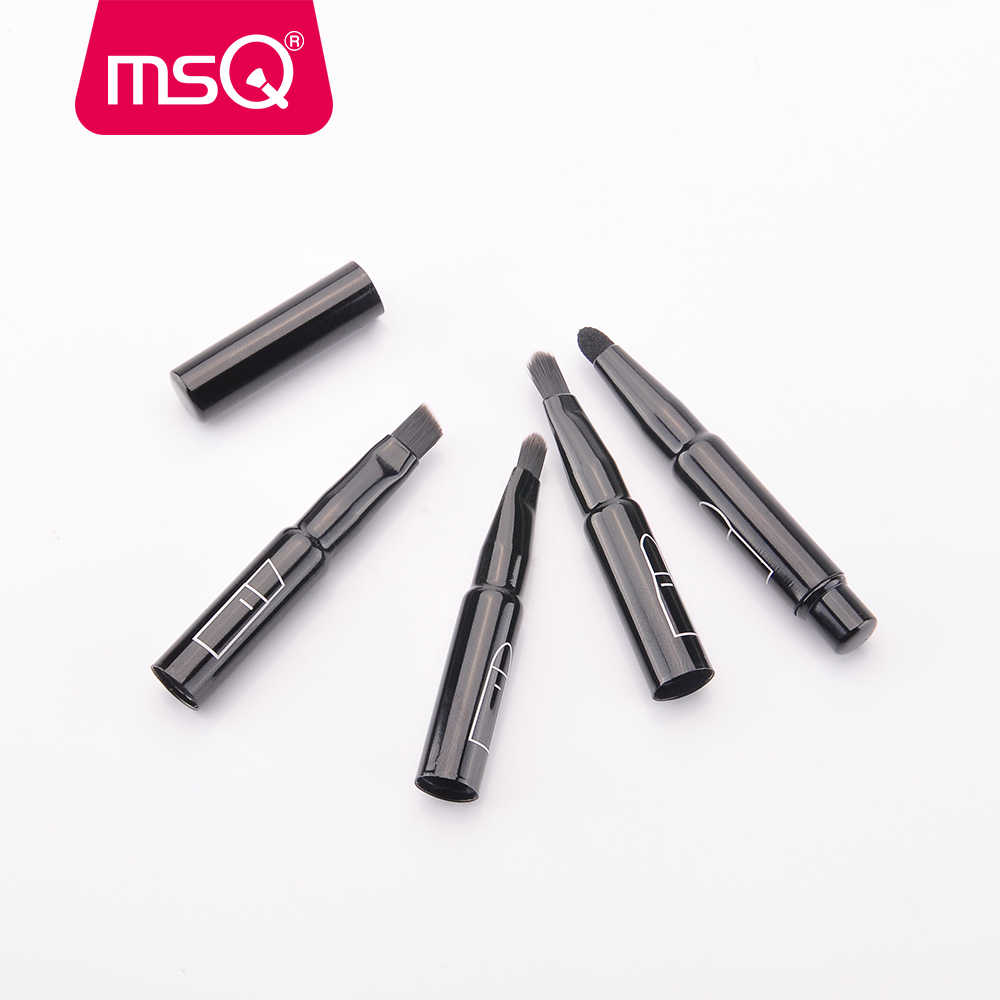 MSQ quatre en un pinceau de maquillage unique pour les outils de maquillage des lèvres et des éponges