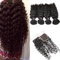 8A Peruvian Virgin Hair With Closure Deep Wave Human Hair Bundles With Lace Closure Peruvian Virgin Hair 3 Bundles With Closure