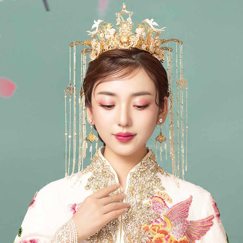 JaneVini Vintage จีน Crown อุปกรณ์เสริมผม Headdress เครื่องประดับโบราณ Hairpins ไข่มุกเจ้าสาวเครื่องประดับยาว Tassels