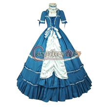 Women's Civil War Dress New Free Shipping Custom Made Vintage Victorian Southern Belle Blue Dress Cosplay Costume for Party