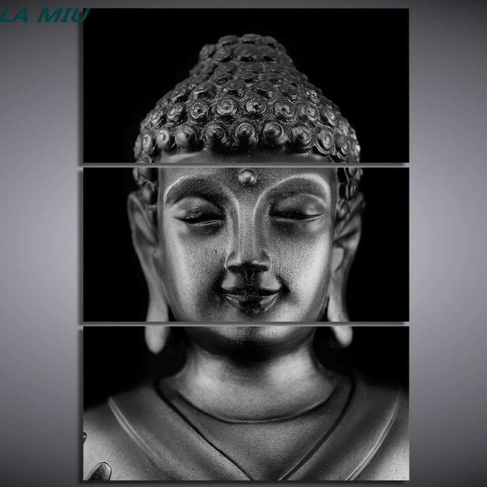 Hd printed 3 piece canvas art black and white buddha head face statue painting wall pictures for living room meditation zen