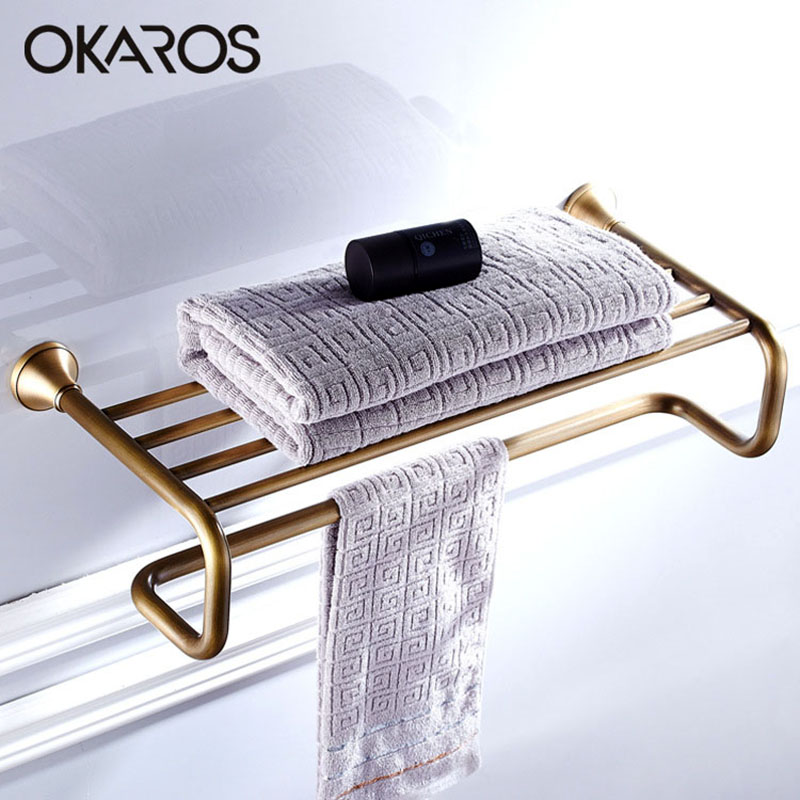 OKAROS European Towel Rack Holder Towel Shelf Tower Rail Towel Hanger Solid Brass Oil Rubbed Black/Bronze Bathroom Accessories allen roth brinkley handsome oil rubbed bronze metal toothbrush holder