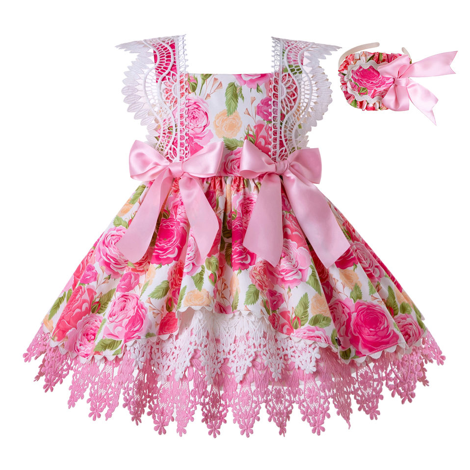 Pettigirl Flower Kids Dresses for Girls Lace Fly Sleeve Festival Dress with Cute Pink Bows Kids