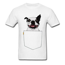 Pocket Boston Terrier Cute Graphic Men Tshirt Corgi Pug Pitbull Teckel Jack Russell Dog Funny 100% Cotton T-Shirt Printed