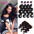 Brazilian Virgin Hair With Closure Brazilian Body Wave 4 Bundles With Frontal Body Wave Lace Frontal Closure With Bundles Brown