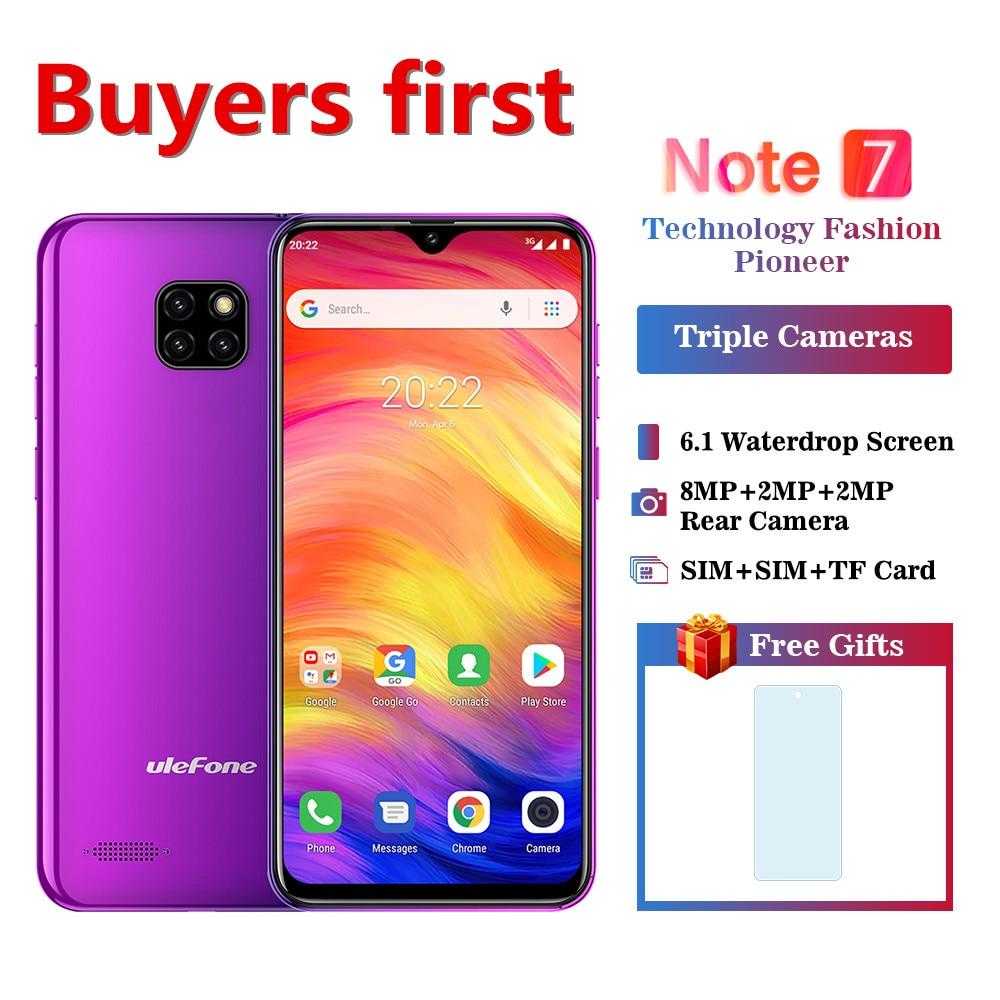 "2019 NEW Ulefone Note 7 Smartphone 3500mAh 19:9 MTK6580 Quad Core 6.1"" Waterdrop Screen 1GB+16GB Mobile phone WCDMA Android 8.1"