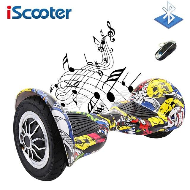 Iscooter ХОВЕРБОРДА 10 дюймов Bluetooth электрический скутер Samsung аккумулятор 2 колеса Smart скутер с дистанционным и ключ gyroscooter