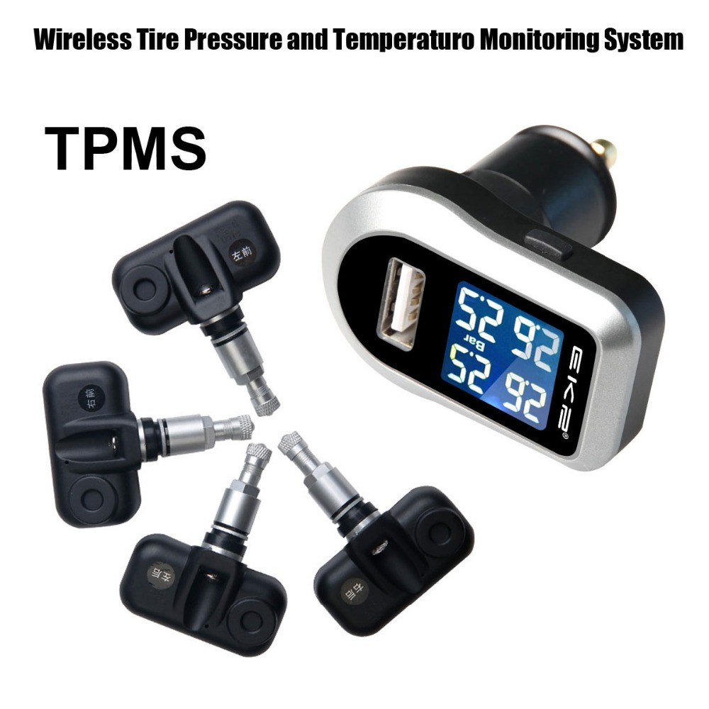 все цены на Tire Pressure Monitoring System Car TPMS with 4 pcs Internal Sensors Display four tires temperature or pressure simultaneously онлайн