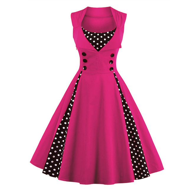 Aliexpress Buy Plus Size Patchwork Woman Vintage Dress 50s 60s