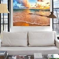 Custom HD Beautiful Mural Sky Beach Photo Wallpaper Sea Wave Scenery Mural Sunset Flaky Clouds Wallpaper