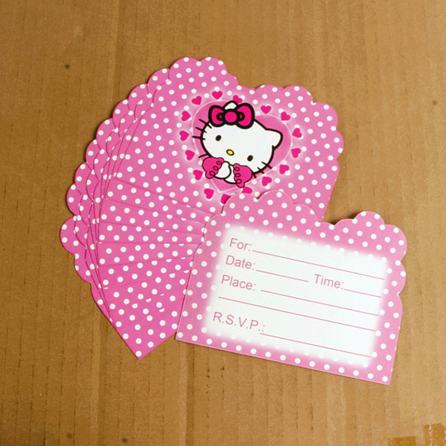 10 Pcs Pack Cute Hello Kitty Invitation Card Cartoon Theme Party For Kids Birthday Decoration Supply Festival