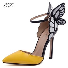 European Women personality wedding high heels Colorful butterfly heeled sandals pumps bow patry shoes woman bridal pumps