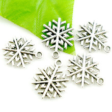 50Pcs Silver Tone Christmas Snowflake Pendants Jewelry Diy Making Charms Component 19x17mm
