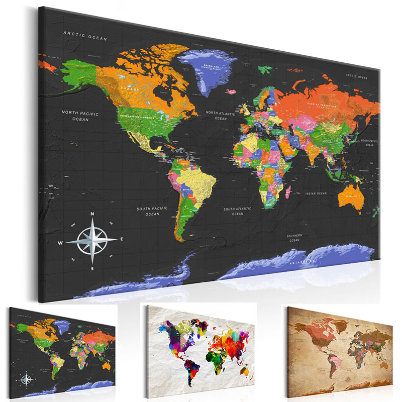 Modern Wall Art Single Pieces Colorful World Map Decoration Canvas Painting Picture Office Living Room Home Decor Poster