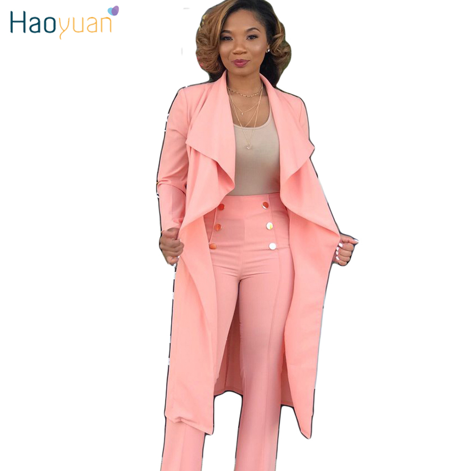 HAOYUAN Plus Size Pink White Solid Cardigan   Trench   Coat Women Clothes Outwear 2018 New Fashions Autumn Elegant Cloak Long Coats