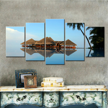 Wall Art Pictures Home Decoration Posters Frame 5 PiecePcs Seaside Cottages Landscape Modern Living Room HD Printed Painting
